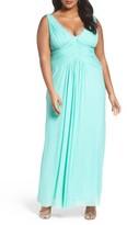 Marina Plus Size Women's Beaded V-Neck Pleat Mesh Gown