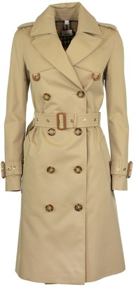 Burberry Islington Leather D-ring Detail Cotton Gabardine Trench Coat