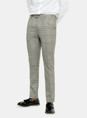 Topman Grey Stone Check Skinny Fit Suit Trousers