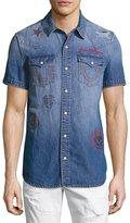 True Religion Printed Short-Sleeve Denim Western Shirt, Blue