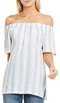 Vince Camuto Two by Off-Shoulder Stripe Seersucker Tunic