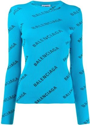 Balenciaga Logo Print Ribbed Jumper