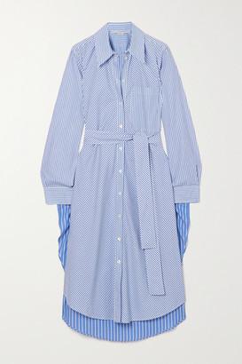 Stella McCartney Kyra Belted Pinstriped Cotton-poplin Midi Shirt Dress - Blue