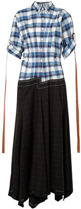 Loewe Checked Cotton-paneled Wool And Mohair-blend Maxi Dress