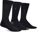 Polo Ralph Lauren Super Soft Diamond Dot Neat, Color Block & Solid Socks, Pack of 3
