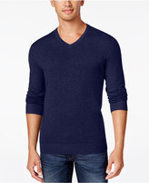 Alfani Men's V-Neck Heathered Long-Sleeve Sweater, Regular Fit