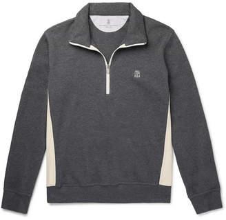 Brunello Cucinelli Nylon-Trimmed Cotton-Blend Jersey Half-Zip Sweatshirt