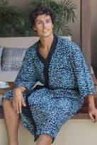 Men's Cotton Robe in Hand Stamped Batik, 'Midnight Blues'