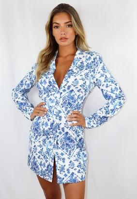Missguided Blue Porcelain Print Single Breasted Blazer Dress