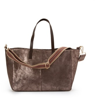 La Redoute Collections Large Leather Tote Bag with Shoulder Strap