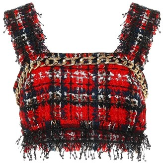 Balmain Embellished tweed crop top