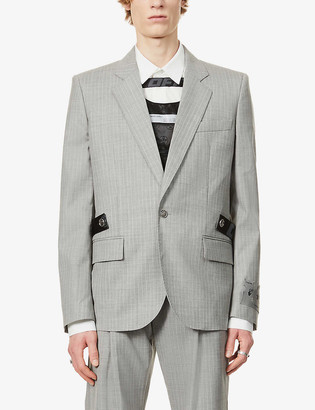 Off-White Unfinished striped single-breasted wool blazer