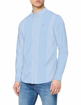 Tommy Jeans Men's TJM Stripe Stretch POPLIN Shirt Casual