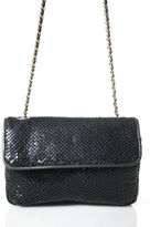 WHITING AND DAVIS Black Chainmail Leather Chain Link Strap Shoulder Handbag
