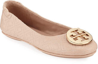 Tory Burch Minnie Quilted Leather Medallion Flats