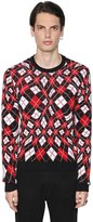 MSGM Wavy Argyle Jacquard Cotton Sweater