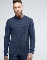 Asos Cable Knit Sweater with Chest Pocket