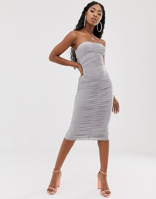 Public Desire bandeau bodycon midi dress-Grey