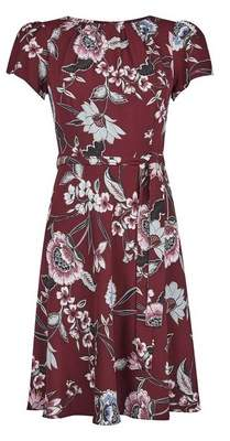 Dorothy Perkins Womens **Billie & Blossom Petite Oxblood Red Floral Print Fit & Flare Dress, Red