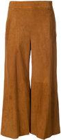 Oscar de la Renta cropped trousers with flare - women - Suede - 8