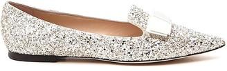 Jimmy Choo Gala Glittered Ballerina Flats