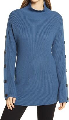 Caslon Button Detail Mock Neck Sweater