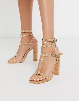 Public Desire Finally studded heeled sandal in cork