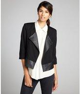 Wyatt black faux leather lapel three quarter sleeve ponte 'Troy' jacket