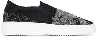 By Walid Patterned Beaded Embroidered Sneakers