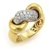 Roberto Coin Diamonds 18K Two Tone Interlaced Band Ring