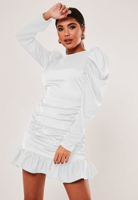 Missguided White Satin Puff Sleeve Ruched Mini Dress