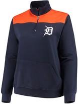 Majestic Women's Navy Detroit Tigers Plus Size Sequin Wordmark Quarter-Zip Pullover Jacket