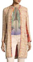 Etro Brocade-Panel Tweed Coat, Peach