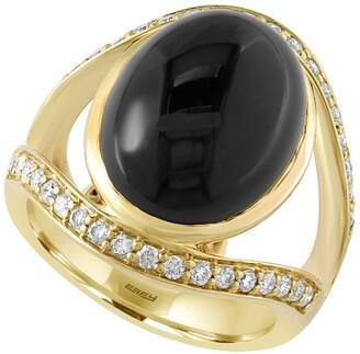 Effy 14K Yellow Gold Onyx & Diamond Ring - Size 7