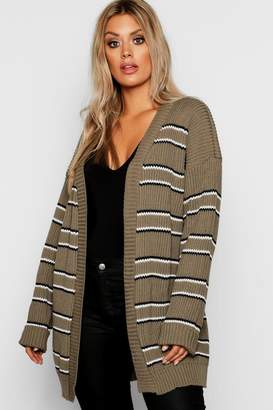 boohoo Plus Stripe Chunky Oversized Cardigan