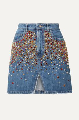 Miu Miu Embellished Denim Mini Skirt - Blue