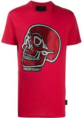 Philipp Plein crystal outline skull T-shirt