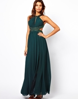 Forever Unique Halter Maxi Dress with Embellished Waist - Emerald