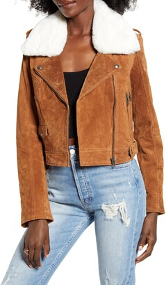Blank NYC Removable Faux Fur Collar Suede Moto Jacket