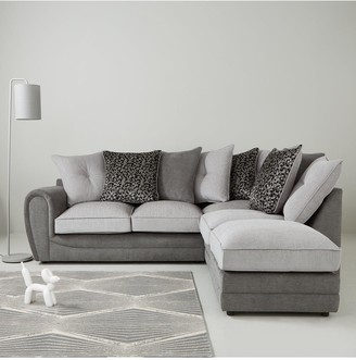 Mosaic Fabric Right-Hand Single Arm Chaise Sofa with Matching Footstool