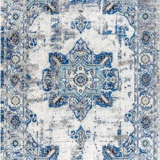Jonathan Y Designs Modern Persian Boho Vintage Medallion Cream & Blue 3'x5' Area Rug, 3'x
