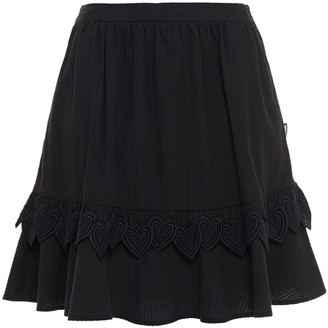 Love Moschino Guipure Lace-trimmed Gathered Seersucker Mini Skirt