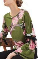 Topshop Women's Floral Tie Flute Sleeve Top
