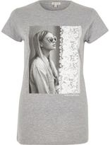 River Island Womens Grey photograph print fitted T-shirt