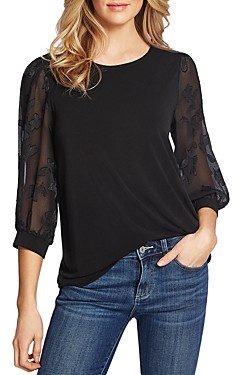 CeCe by Cynthia Steffe Lace-Sleeve Top