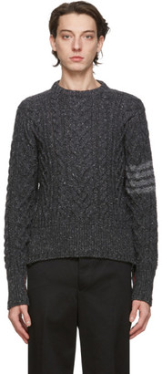 Thom Browne Grey Cable Knit Crewneck Sweater