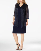 Connected Plus Size Metallic Layered-Look Dress