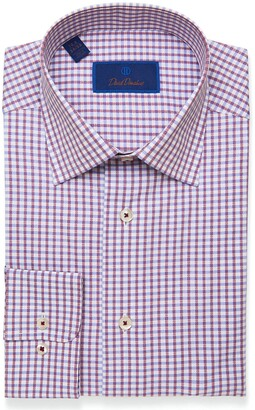 David Donahue Regular Fit Mini Check Dress Shirt
