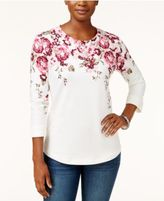 Karen Scott Printed 3/4-Sleeve Top, Only at Macy's