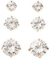 Joe Fresh Women's 3 Pair Stud Earrings, White (Size O/S)
